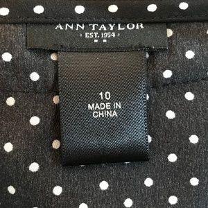 Ann Taylor Tops - Ann Taylor Navy Polka Dot Cap Sleeve Blouse